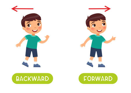 Backward and forward antonyms word card vector template. Flashcard for english language learning. Opposites concept. The boy steps backward, the child steps forward and the arrows indicate the direction.