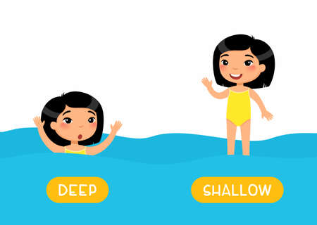 Opposites, DEEP and SHALLOW words. Educational english flash card with antonyms flat vector template. Childish memo cards for language learning concept. Little asian girl swimming cartoon illustration Illusztráció