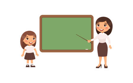 Teacher and schoolgirl at classroom flat vector illustration. Female tutor and pupil standing near empty chalkboard cartoon characters. Girl at school class isolated on white background