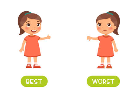 Best and worst antonyms word card vector template. Flashcard for english language learning. Opposites concept. Joyful little girl shows thumbs up in agreement, a disgruntled child shows thumbs down in denial. Illusztráció
