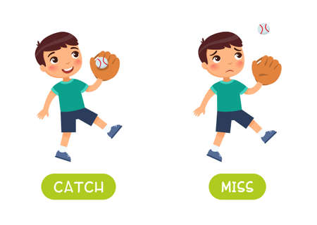Catch and miss antonyms word card vector template. Flashcard for english language learning. Little happy boy caught a ball with a baseball glove and a sad child missed a baseball ball.