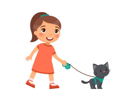 A joyful little girl is holding a cute black kitten on a harness. The concept of friendship with pets. Cartoon characters isolated on white background. Flat vector color illustration.