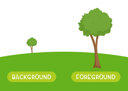 Background and foreground antonyms word card vector template. Flashcard for english language learning. Opposites concept. A green tree stands far on the horizon, a plant stands close. 向量圖像