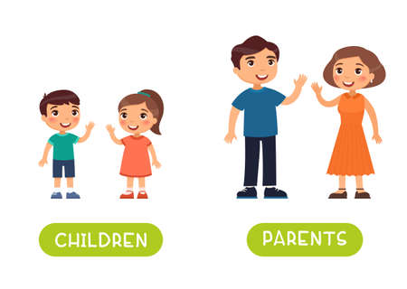 Children and parents antonyms word card vector template. Flashcard for english language learning.