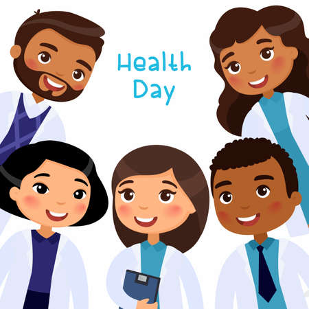 Health Day concept. International doctors in medical clothes smiling. Cartoon flat vector characters on white background.