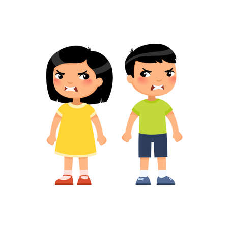 Angry little boy and girl flat vector illustration. Furious asian children quarrel, aggressive kids arguing cartoon characters. Kids with mad face expression isolated on white background