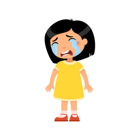 Crying sad little girl flat vector illustration. Upset asian child with tears on face standing alone cartoon character. Lonely kid in bad mood, person unhappy expression isolated on white background