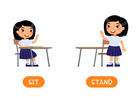 Opposites concept, STAND and SIT. Educational word card with school kid vector template. Flash card for foreign language with school student. Little asian school girl flat illustration with typography