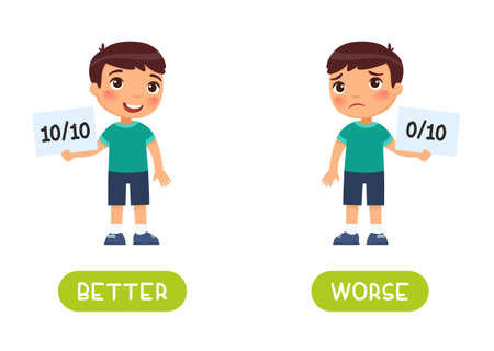 Best and worst antonyms word card vector template. Flashcard for english language learning. A sad boy holds in his hand a sheet with a minimum result and a happy boy shows a maximum result. 일러스트