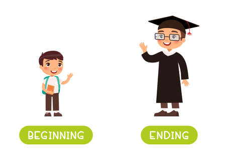 Beginning and ending antonyms word card vector template. Flashcard for english language learning. Little happy boy for the first time at school and happy young man graduating from school. Illusztráció