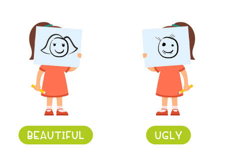 Beautiful and ugly antonyms word card vector template. Flashcard for english language learning. Opposites concept. A little girl is holding a beautiful drawing in front of her face, a child has drawn an ugly character.