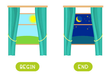 Begin and end antonyms word card vector template. Flashcard for english language learning. Outside the window morning and night.