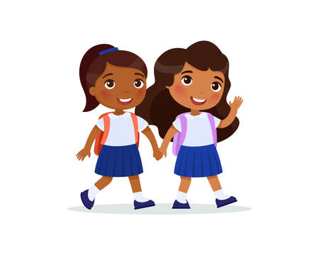 Two schoolgirls going to school flat vector illustration. Couple pupils in uniform holding hands isolated cartoon characters. Two dark skin elementary school students with backpacks waving hand and greeting Illusztráció