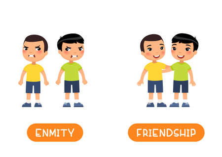 FRIENDSHIP and ENMITY antonyms flashcard vector template. Opposites concept. Two little asian boys quarrel and friends illustration with typography. Word card for english language learning with flat characters.