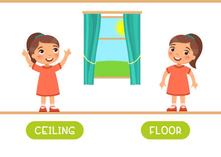 Ceiling and floor antonyms word card vector template. Flashcard for english language learning. Little girl points up and points down. 일러스트