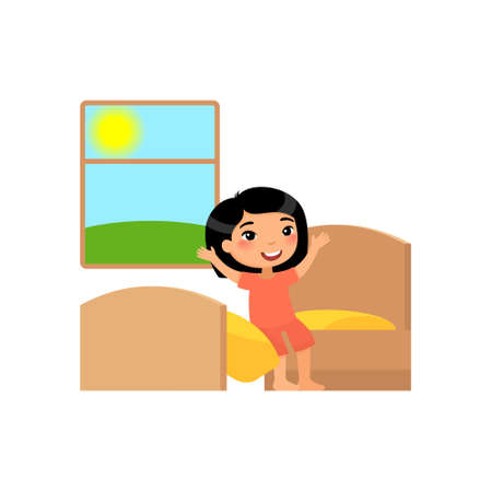 Little asian girl woke up. The child sits in his bed and stretches. Flat vector illustration. Isolated cartoon character on white background.