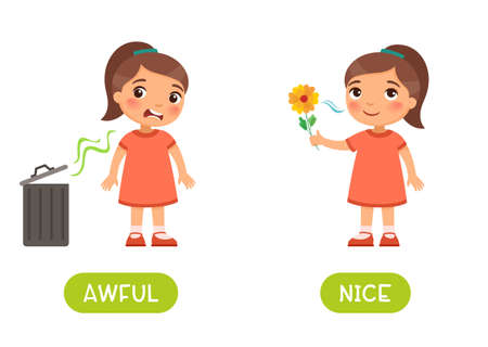 Awful and nice antonyms word card vector template. Flashcard for english language learning. Opposites concept. The little girl does not like the bad smell from the trash can, the child sniffs the flower and enjoys the scent.