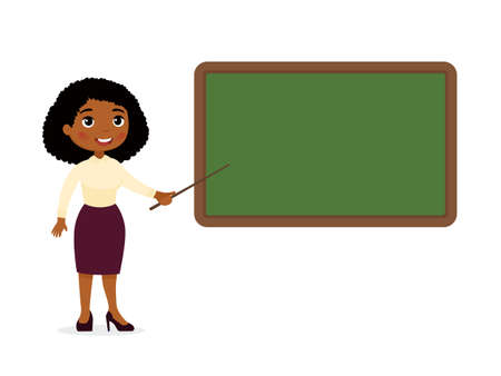 Dark skin female teacher standing near blackboard flat vector illustration. Smiling tutor pointing at blank chalkboard in classroom cartoon character. Educational process. School lesson, tutor explain Illusztráció