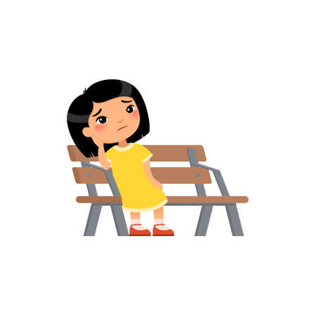 Lonely kid girl is bored in the playground. Sad little asian girl. Unhappy child sitting on bench. Flat vector illustration. Isolated cartoon character on white background.