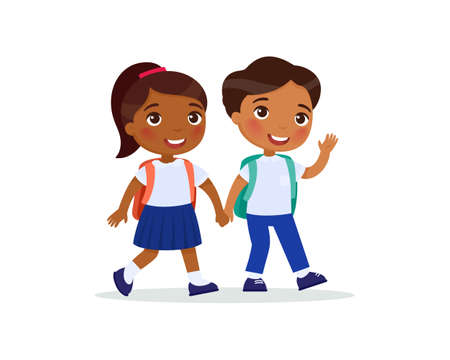 Schoolmates going to school flat vector illustration. Couple pupils in uniform holding hands isolated cartoon characters. Happy elementary dark skin school students with rucksack back to school after holidays