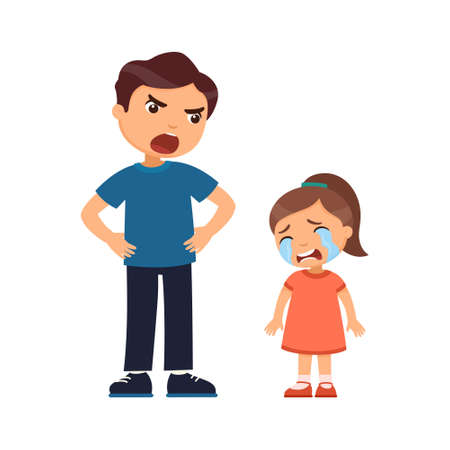 Father punishes a crying little girl. Abusive parenting concept. Cartoon character isolated on white background. Flat vector color illustration.