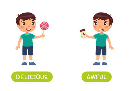 Delicious and awful antonyms word card vector template. Flashcard for english language learning. A joyful boy holds a sweet lollipop, an unhappy boy holds bitter coffee in his hands.