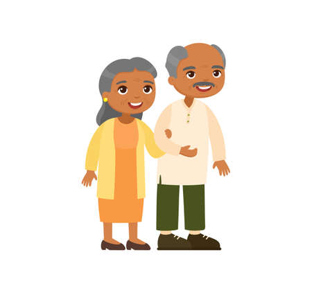 Old indian couple. Senior couple smiling and walking together. Elderly woman holds arm of elderly man. Happy married life concept. Vector illustration 일러스트