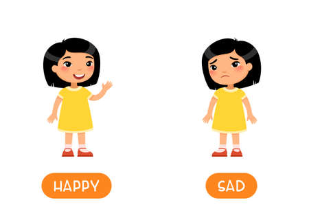 Mood concept, HAPPY and SAD. Childish word card with opposites vector template. Flash card for foreign language with little child. Smiling and unhappy little asian girl flat illustration with typography