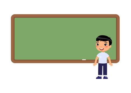 Asian school boy standing near blackboard. Pupil near empty chalkboard cartoon character. Elementary school education process. Child at lesson flat vector illustration.