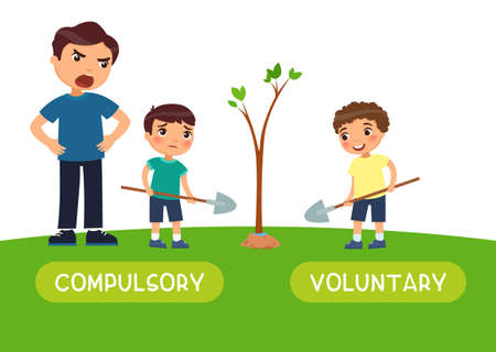 Compulsory and voluntary antonyms word card vector template. Flashcard for english language learning. A man makes a sad boy plant a tree. A happy boy plants a tree of his own free will. Illusztráció