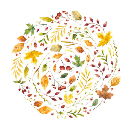 Autumn leaves flat vector decorative square frame. Vintage yellow foliage with red guelder berries. Fall season floral border with stylized lettering. Botanical composition postcard template