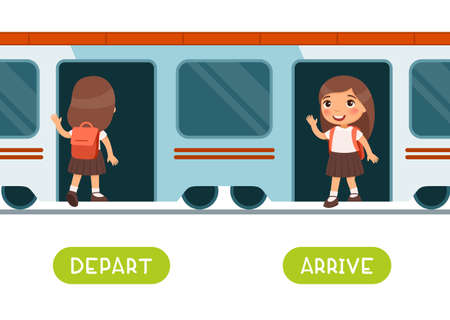 Depart and arrive antonyms word card vector template. Flashcard for english language learning. A little schoolgirl gets on the train and sets off. A happy child gets out of the train carriage. 일러스트