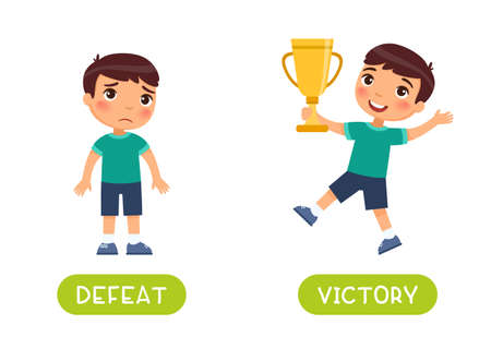 Defeat and victory antonyms word card vector template. Flashcard for english language learning. A sad boy has lost, a child with a golden cup in his hands has won and is happy.