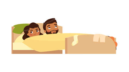 Indian young couple in bed. Clothes are scattered. Satisfied man and displeased woman. Unhappy married couple. Sexual problems concept . Colorful vector illustration in flat cartoon style. Ilustrace