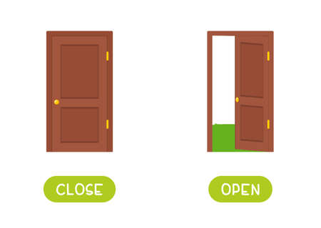 Close and open antonyms word card vector template. Flashcard for english language learning. The wooden door is open, the door is locked. 일러스트
