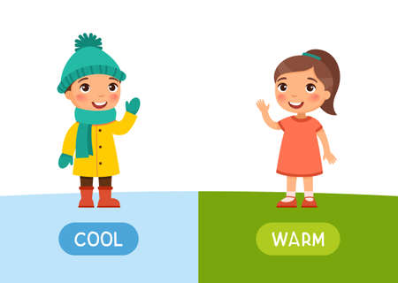 Warm and cool antonyms word card vector template. Flashcard for english language learning. A little girl stands in winter clothes, a child in a summer dress.