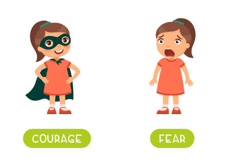 Courage and fear antonyms word card vector template. Flashcard for english language learning. A brave little girl in a heroic pose and a superhero costume, a frightened child with fear on her face. Illusztráció