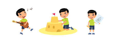 Little cute asian boy builds a sandcastle, drawings, plays the guitar and sings. Creativity concept. Ð¡hild is having fun and relaxing. Cartoon characters, set of flat vector illustrations