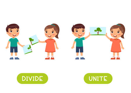 Divide and unite antonyms word card vector template. Opposites concept. Flashcard for english language learning. Little boy and a girl combined the picture, the children separated the image.