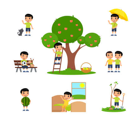 Little asian boy is spending time in the countryside. The concept of summer fun. Village holiday, harvesting. Cartoon character, set of flat vector illustrations 일러스트