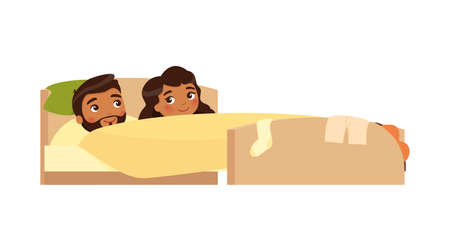 Indian young couple smiling in bed. Clothes are scattered. Satisfied man and woman. Happy married couple. Sexual relations concept . Colorful vector illustration in flat cartoon style. 일러스트