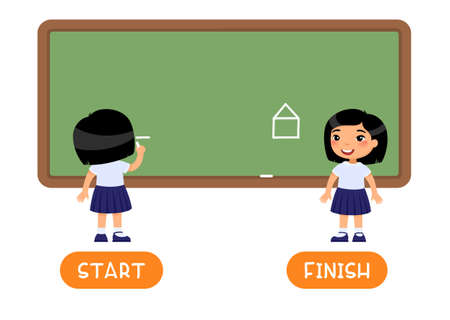 Opposites concept, START and FINISH. Childish word card with antonyms vector template. Flash card for english language with little kid. Asian schoolgirl drawing on chalkboard flat illustration with typography