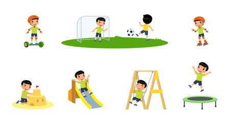 Little asian boy plays in the playground. Concept of summer entertainment. Child plays different summer games. Sport and recreation. Cartoon character, flat vector illustration set. Illusztráció