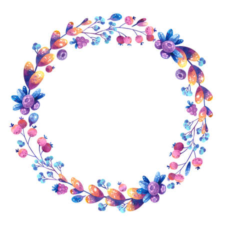 Empty circular frame with purple and pink cosmic plants. Flowers, leaves, berries with symbols of stars and the moon. Blank floral color frame. Hand drawn watercolor illustration.