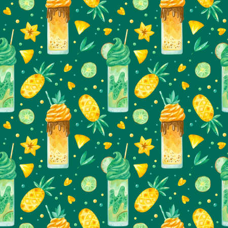 Sweets and yummies hand drawn seamless pattern. Milkshakes, pineapple, carambola and kiwi color drawing. Sweet-stuff, confection texture on dark background. Watercolor creative wallpaper, wrapping paper, textile design, scrapbooking, digital paper. 스톡 콘텐츠