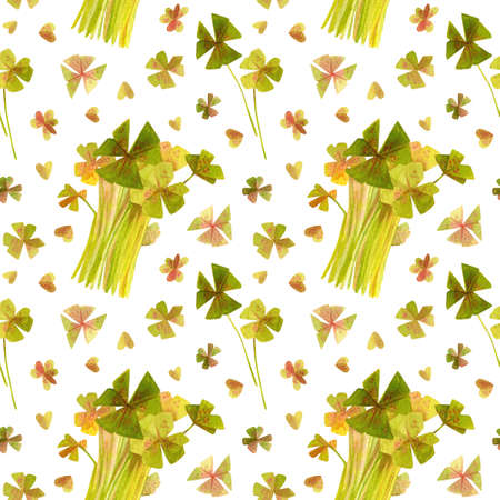 Spring garden leaves of oxalis seamless pattern. Cartoon greens watercolor illustration. Wallpaper, wrapping paper design, textile, scrapbooking, digital paper.