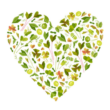 Garden leaves heart shaped watercolor frame. Spring watercolor drawing. Cartoon green cliparts on white background. Frame with garden composition isolated on white background.