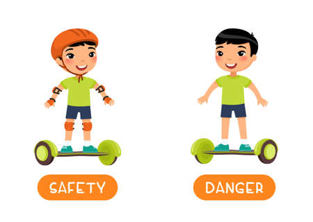 Antonyms concept, SAFETY and DANGER. Flashcard with antonyms for kids vector template. Word card for foreign language studying. Cute asian boy with gyroscooter flat illustration with typography