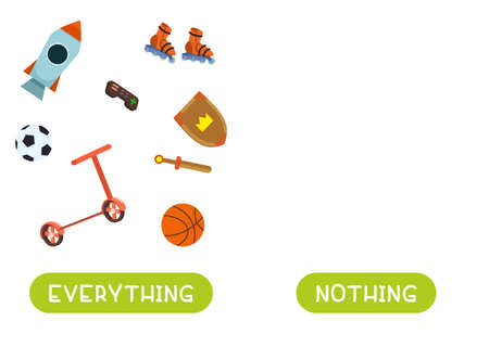 Everything and nothing antonyms word card vector template. Opposites concept. Flashcard for english language learning. All children's toys are gathered together, there is nothing. 일러스트