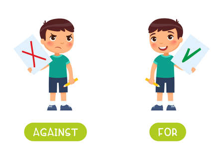 Against and for antonyms word card vector template. Flashcard for english language learning. Opposites concept. A disgruntled little boy drew a red cross on the paper as a symbol of rejection. A joyful child holds a paper with a check mark - a symbol of approval.